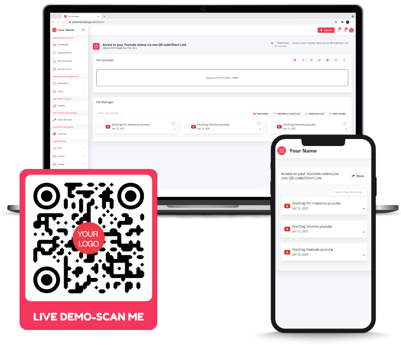 AppMyVideos with QR code and Shortlink access - DocDrag Platform