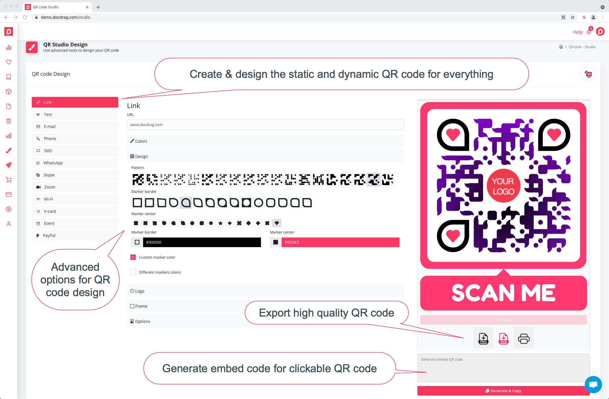 QR code Design studio - docdrag