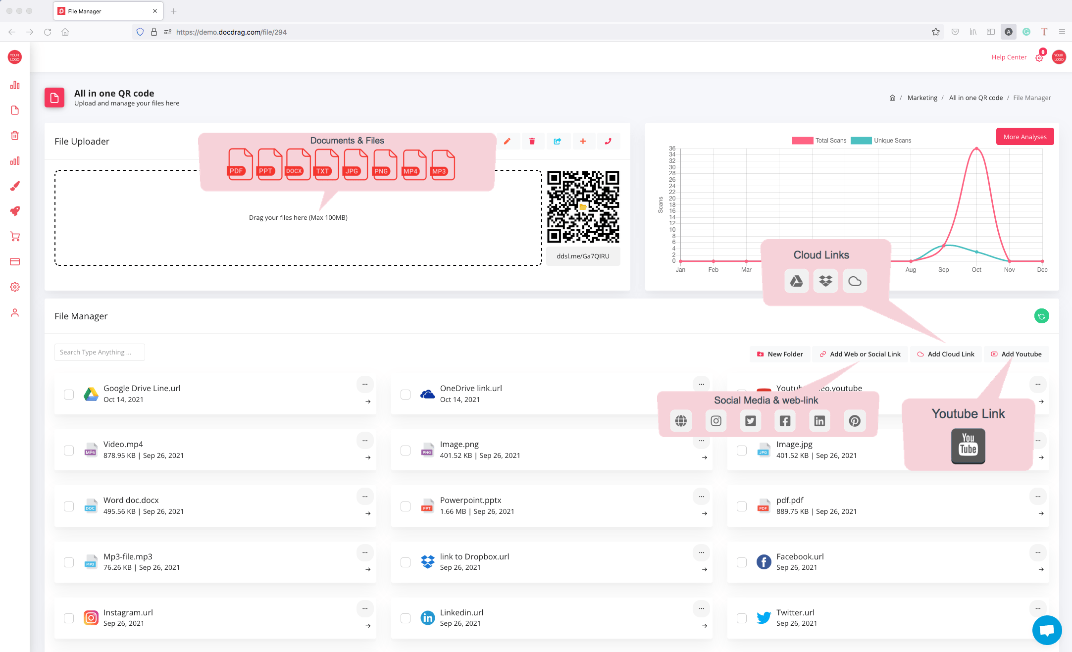 QR code for document, files and links - docdrag
