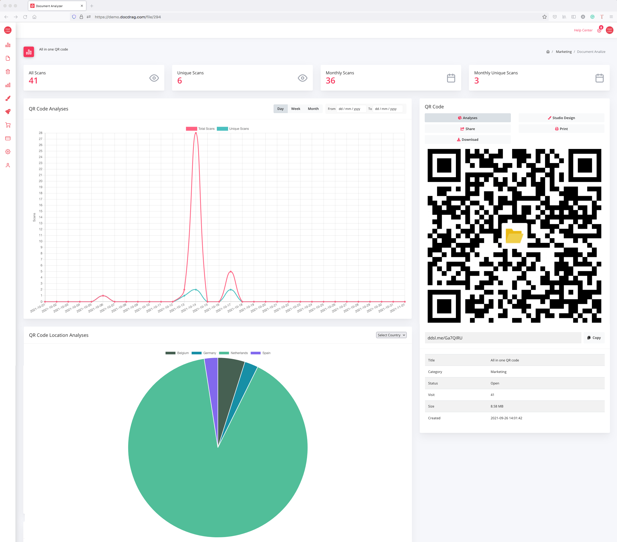 QR code and scan analyses - docdrag