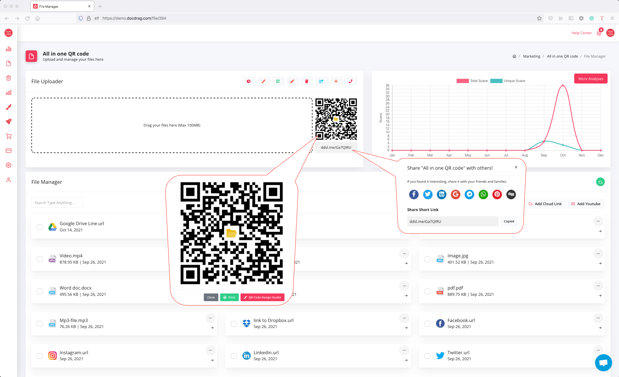 QR code generator for document, files and links - docdrag